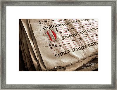 Medieval Choir Book Framed Print by Carlos Caetano
