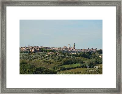 Medieval City Of Siena In Tuscan Countryside Framed Print by DejaVu Designs