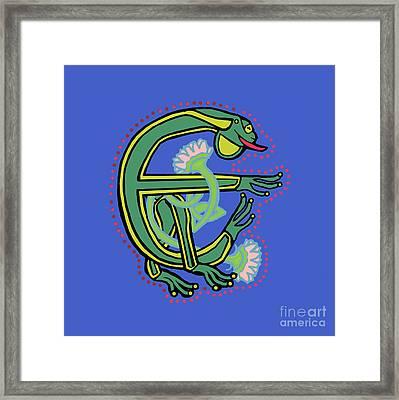 Medieval Frog Letter E Framed Print