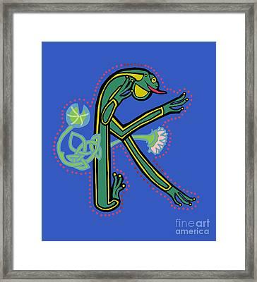 Medieval Frog Letter K Framed Print