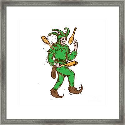 Medieval Jester Juggling Wooden Pins Drawing Framed Print