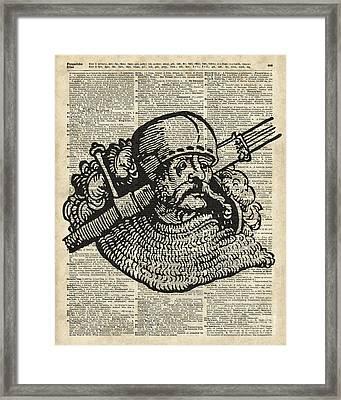 Medieval Knight Illustration Framed Print