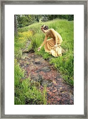 Medieval Lady By A Stream Framed Print