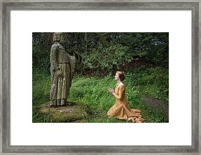 Medieval Lady Praying To Saint Ninian 2 Framed Print