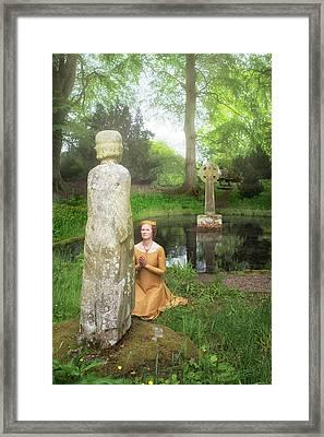 Medieval Lady Praying To Saint Ninian Framed Print