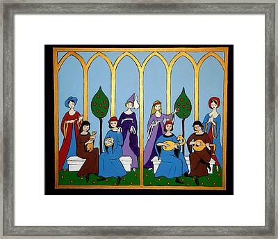 Framed Print featuring the painting Medieval Musicians by Stephanie Moore