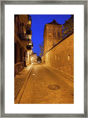 Medieval Old Town Of Torun By Night Framed Print