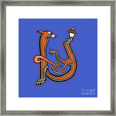 Medieval Squirrel Letter U Framed Print