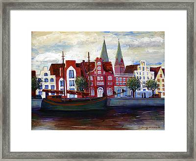 Medieval Town In Lubeck Germany Framed Print