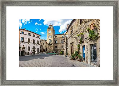Medieval Town Square Of Vitorchiano In Lazio, Italy Framed Print by JR Photography