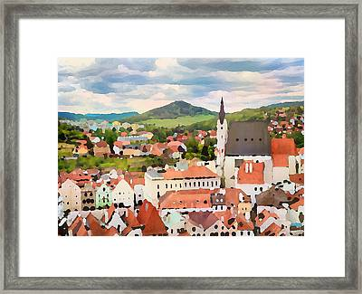 Framed Print featuring the digital art Medieval Village  by Shelli Fitzpatrick