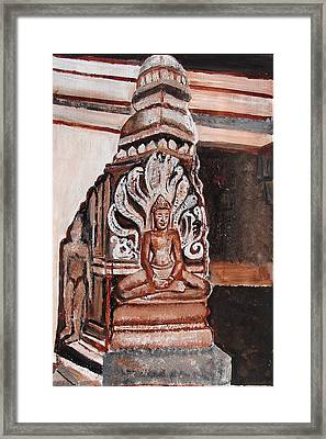 Framed Print featuring the painting Meditating Buddha 10 by Anand Swaroop Manchiraju