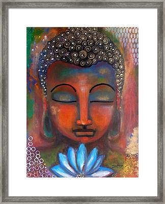 Framed Print featuring the painting Meditating Buddha With A Blue Lotus by Prerna Poojara