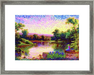 Meditating Just Be Framed Print