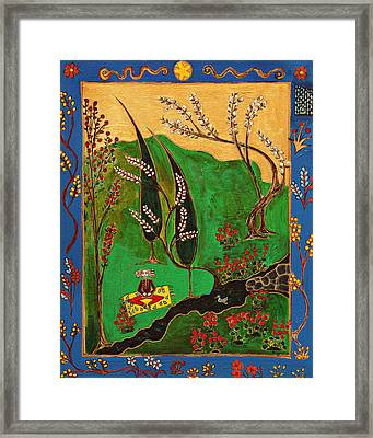 Meditating Master By Stream With Yellow Rug Framed Print by Maggis Art
