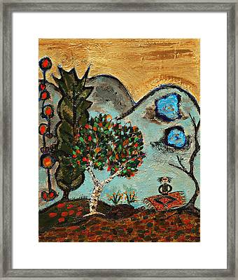 Meditating Master In Autumn Forest Framed Print by Maggis Art