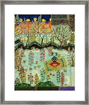 Meditating Master In Courtyard Framed Print by Maggis Art