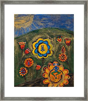 Meditating Master In Divine Garden Framed Print by Maggis Art
