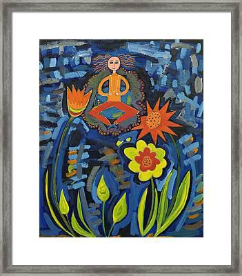 Meditating Master In Moonlit Garden Framed Print by Maggis Art