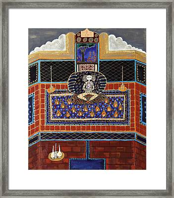 Meditating Master In Tiled Courtyard Framed Print by Maggis Art