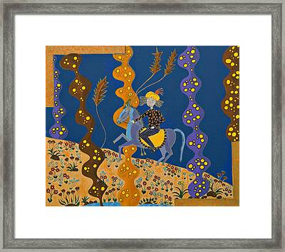 Meditating Master On Horse Framed Print by Maggis Art