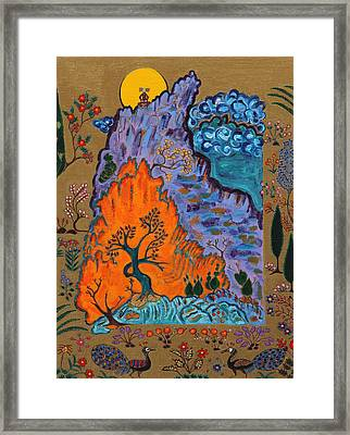 Meditating Master On Mountain Top Framed Print by Maggis Art