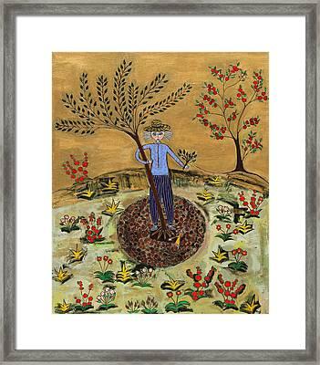 Meditating Master Planting Tree Framed Print by Maggis Art