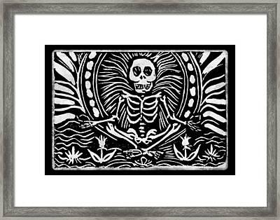 Meditating Skeleton Framed Print by Katherine Nutt