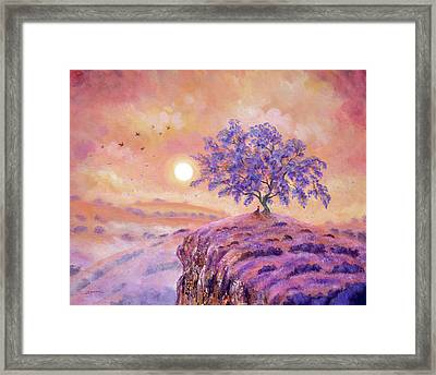 Meditating Under A Jacaranda Tree Framed Print by Laura Iverson