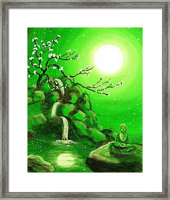 Meditating While Cherry Blossoms Fall In Green Framed Print by Laura Iverson