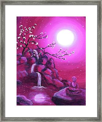 Meditating While Cherry Blossoms Fall Framed Print