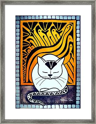 Framed Print featuring the painting Meditation - Cat Art By Dora Hathazi Mendes by Dora Hathazi Mendes