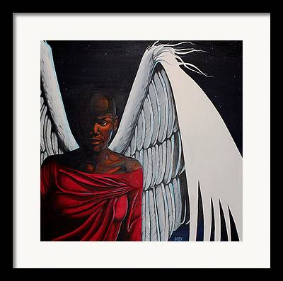 African American Female Angel In Red With White Wings Framed Prints