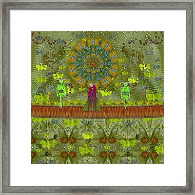 Meditative Garden Got Visit Of Lady Panda And The Floral Skulls Framed Print by Pepita Selles