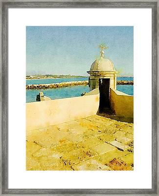Mediteranean View By John Springfield Framed Print by John Springfield
