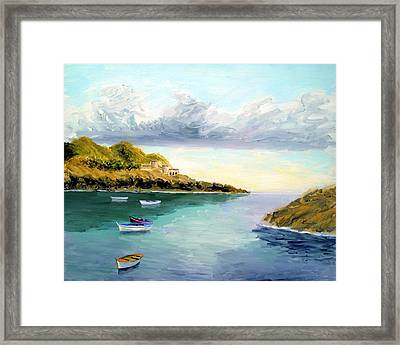 Mediterranean Bay Framed Print by Larry Cirigliano