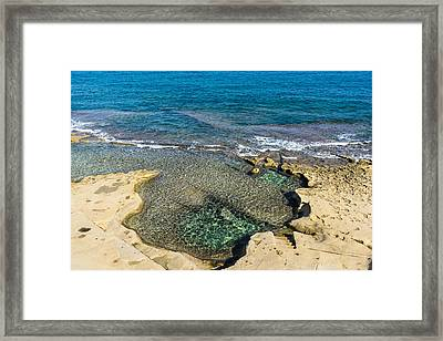 Mediterranean Delight - Maltese Natural Beach Pool With A Sleeping Giant Framed Print by Georgia Mizuleva