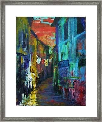 Mediterranean Dusk Framed Print by Margaret  Plumb