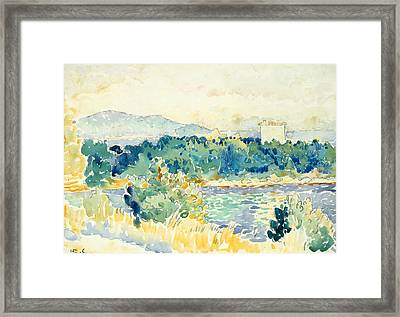 Mediterranean Landscape With A White House Framed Print by Henri-Edmond Cross
