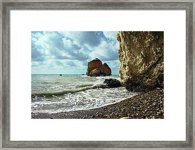 Mediterranean Sea, Pebbles, Large Stones, Sea Foam - The Legendary Birthplace Of Aphrodite Framed Print