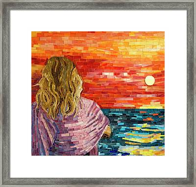Mediterranean Sunset Detail Framed Print by Adriana Zoon