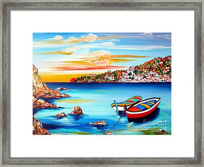 Mediterranean Sunset With Boats Framed Print by Roberto Gagliardi