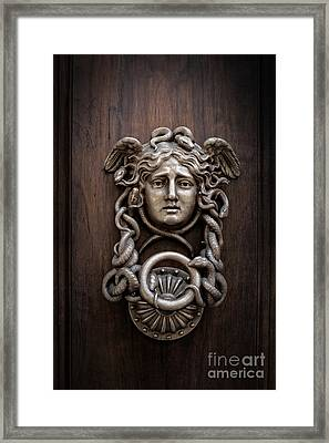 Medusa Head Door Knocker Framed Print by Edward Fielding