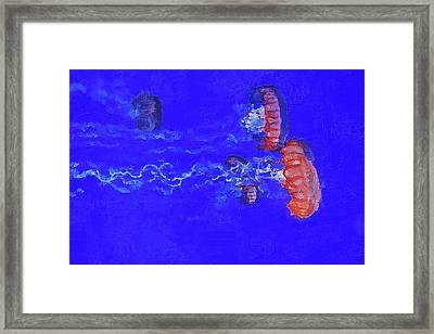 Framed Print featuring the digital art Medusas Jellyfishes by PixBreak Art