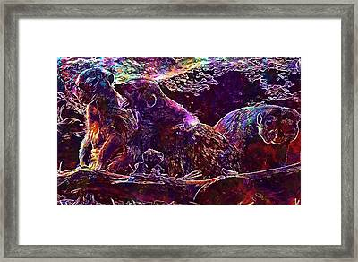Framed Print featuring the digital art Meerkat Zoo Lazy Nature Animal  by PixBreak Art