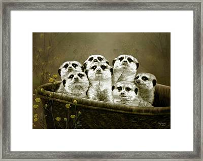 Framed Print featuring the digital art Meerkats by Thanh Thuy Nguyen