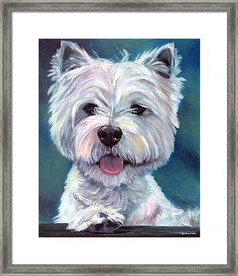 Meet And Greet - West Highland Terrier Framed Print by Lyn Cook