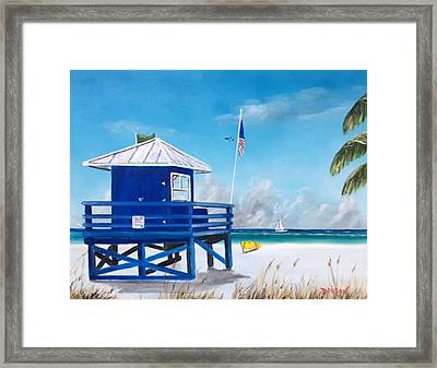 Meet At Blue Lifeguard Framed Print
