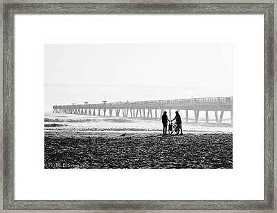 Framed Print featuring the photograph Meet At The Pier by Phyllis Peterson