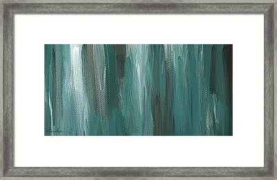 Meet Halfway - Teal And Gray Abstract Art Framed Print by Lourry Legarde